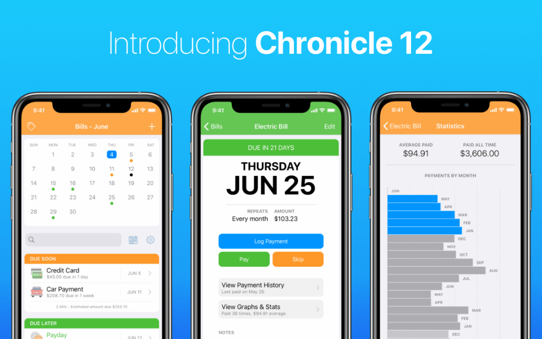 Chronicle 12 for iOS: Now with Income