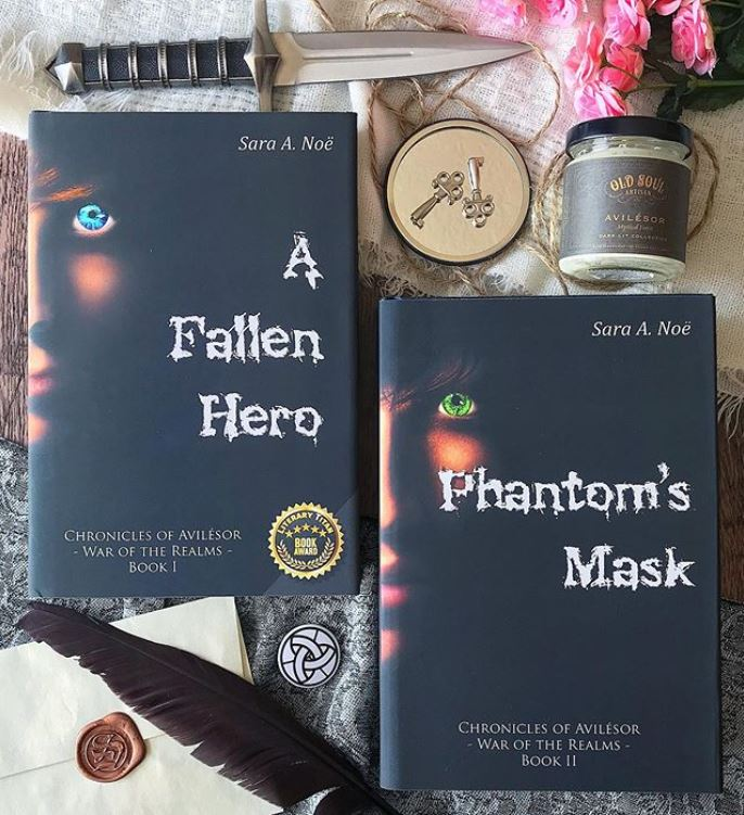 A Fallen Hero and Phantom's Mask #bookstagram by @laurensboookshelf