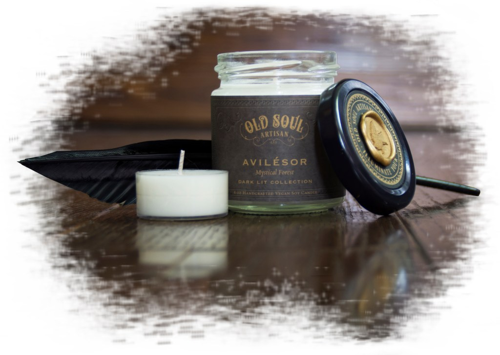 Avilesor candle by Old Soul Artisan in collaboration with author Sara A. Noe