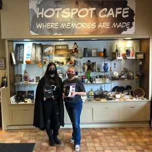 Author Sara A. Noë with owner Charity at a book signing at HotSpot Café, October2020