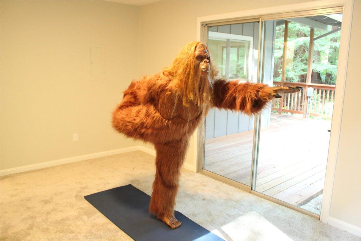 Daniel Oster as Bigfoot Performing Yoga