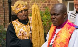 The archbishop of York John Sentamu, right, and Father Georgia Dimtsu of St Gabriel Ethiopian Orthodox church