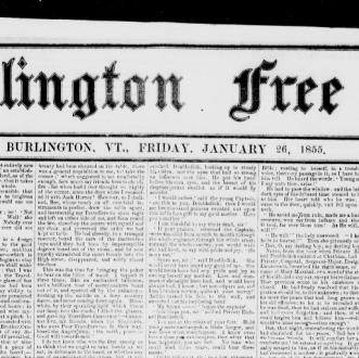 Burlington free press   Burlington  Vt   1827 1865  January 26  1855     Burlington free press   Burlington  Vt   1827 1865  January 26  1855  Image  1      Chronicling America      Library of Congress