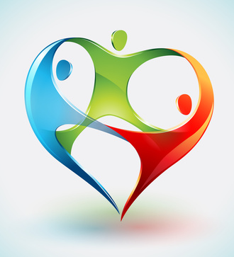 Three Colorful Figures Dance in a Shape of a Heart