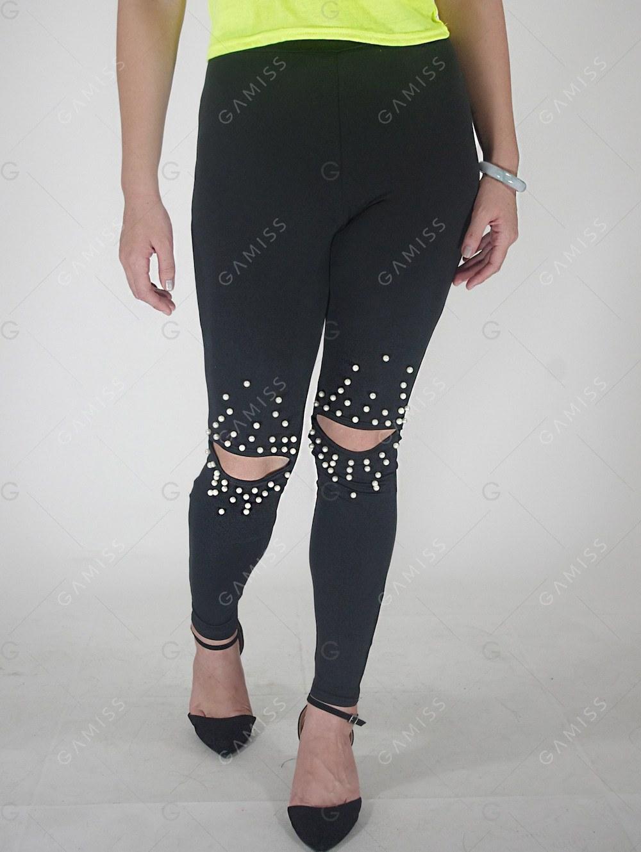 Pantalons noir perles aux genoux