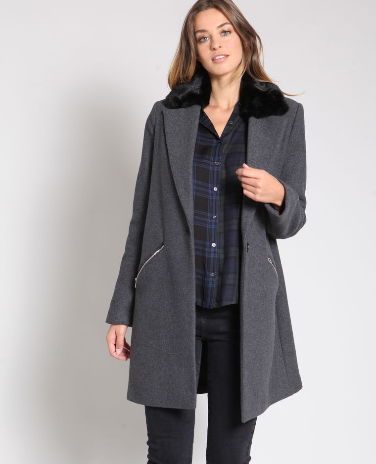 manteau long gris fourrure pimkie