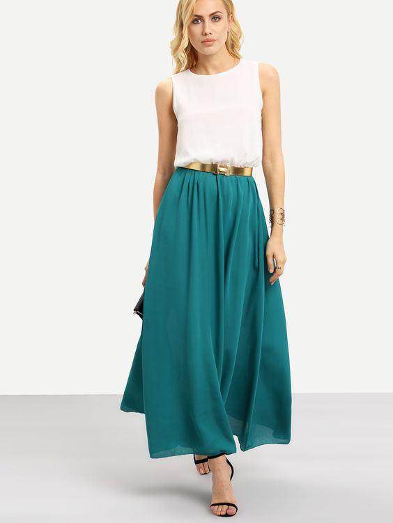 robe-longue-vert-blanc