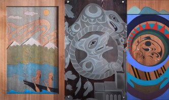 From left to right is the work of Jody Broomfield of Squamish Nation, Jordan Gallie of Tsleil-Waututh and Chrystal Sparrow of Musqueam, which now hangs at Vancouver City Hall.