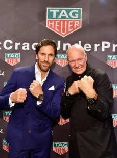 NEW YORK, NY - OCTOBER 25: Professional Hockey Player Henrik Lundqvist and CEO of TAG Heuer Jean-Claude Biver attend the Muhammad Ali tribute event at Gleason's Gym on October 25, 2016 in New York City. (Photo by Eugene Gologursky/Getty Images for TAG Heuer)