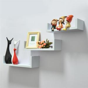 White Contemporary Wall Mounted U Shape Floating shelves (3pcs)