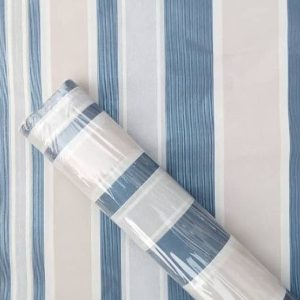 Blue and Faded Pink Striped Wallpaper
