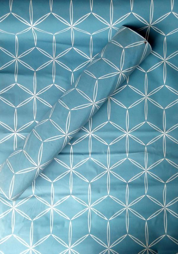 Blue and White Patterned Wallpaper