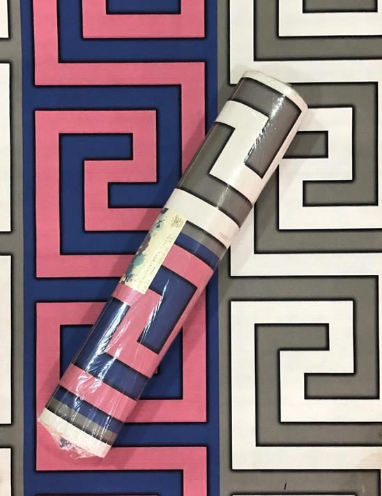 Pink, Blue, Grey and White Mixed Patterned Wallpaper