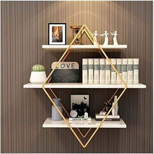 Hanging Diamond shaped gold wall shelf | Floating Shelf
