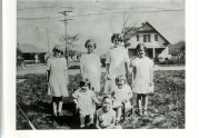 Ginnie, Theresa, Edie, Millie, Dolly (sitting R) & Pete at Uncle Sam's 1932 (The other sitting girl is a cousin)