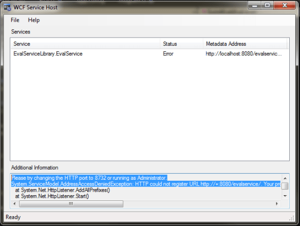 WCF Service Host screenshot
