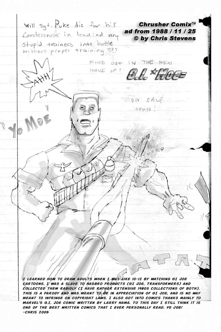 G.I. Moe: A Real American DoDo!!!!!!!!!! Yo Moe!   Chris' Crusher Comics #2 (1988)