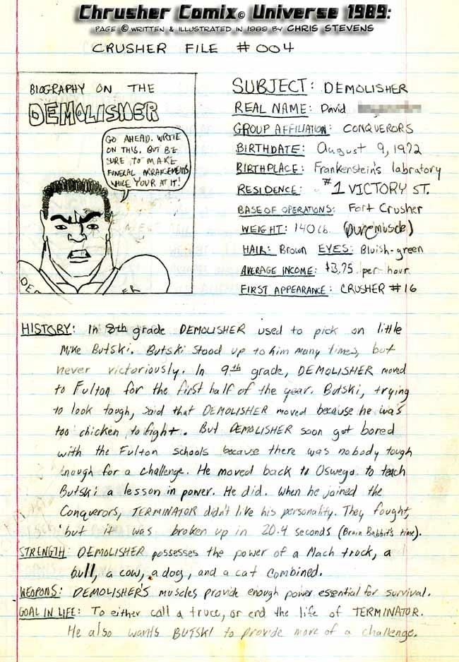 Crusher Comics Universe David Demolisher Degross 1988 Profile