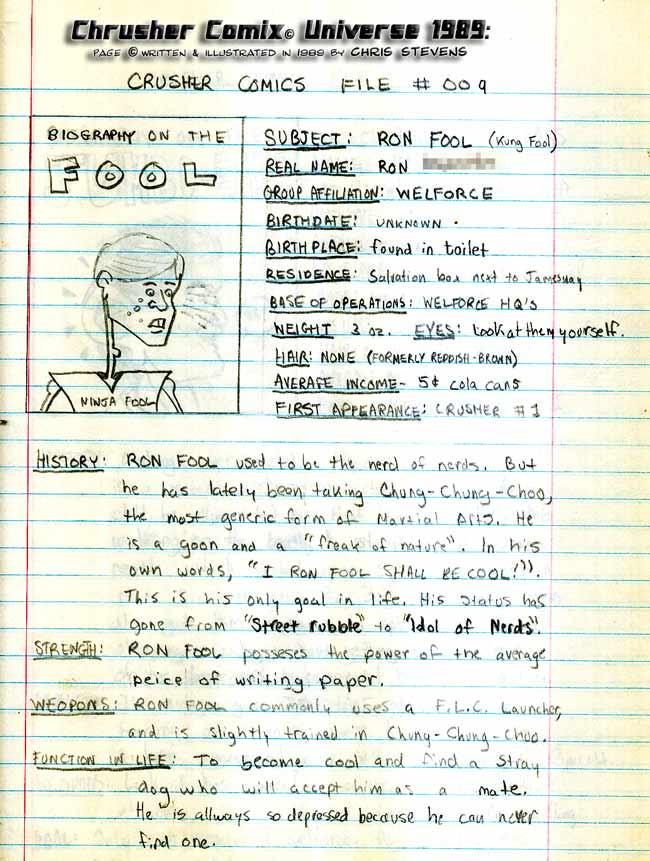 Crusher Comics Universe Ronald Cool Kung Foule 1988 Profile