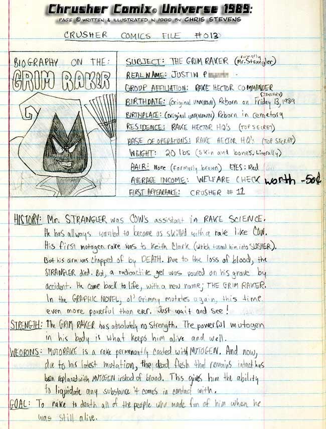 Crusher Comics Universe Justin Grim Raker Plankton 1988 Profile