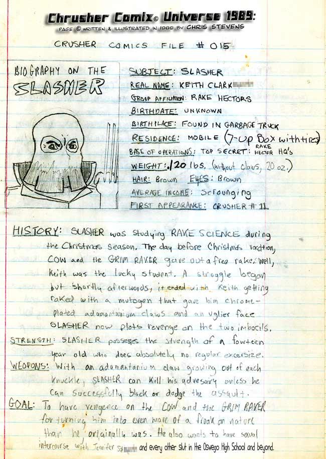 Crusher Comics Universe Keith Slasher Clarkson 1988 Profile