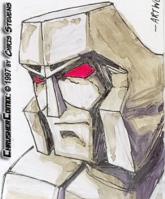 Transformers: Megatron – G1 Cartoon Face (Pen & Marker) | Chrusher Comix