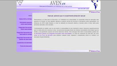 Captura de pantalla de la página de inicio de AVENes en 2011