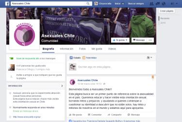 Captura de pantalla de la fanpage de Asexuales Chile a marzo de 2016