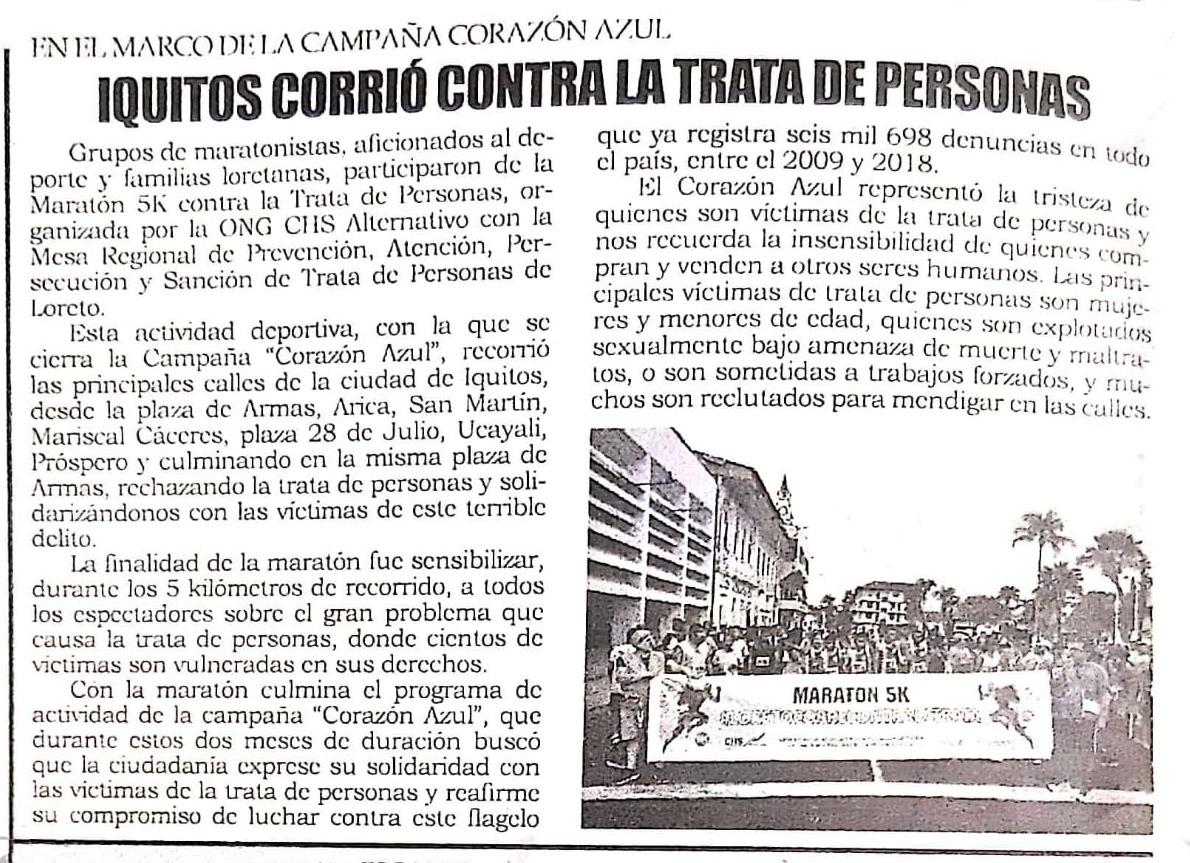 Iquitos corrió contra la trata de personas