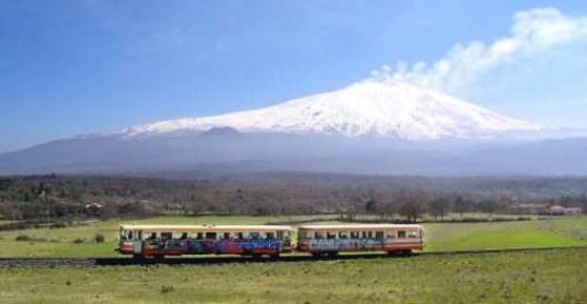 CircumEtnea, a small train around the volcano.