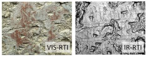 Infrared photography enhances RTI documentation of historical graffiti on wall paintings . San Giovanni Catacombs, Syracuse