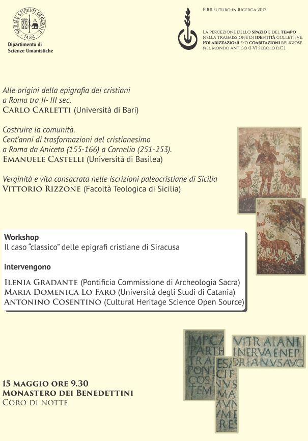 Workshop Epigrafi Cristiane in Siracusa. 15 Maggio 2015