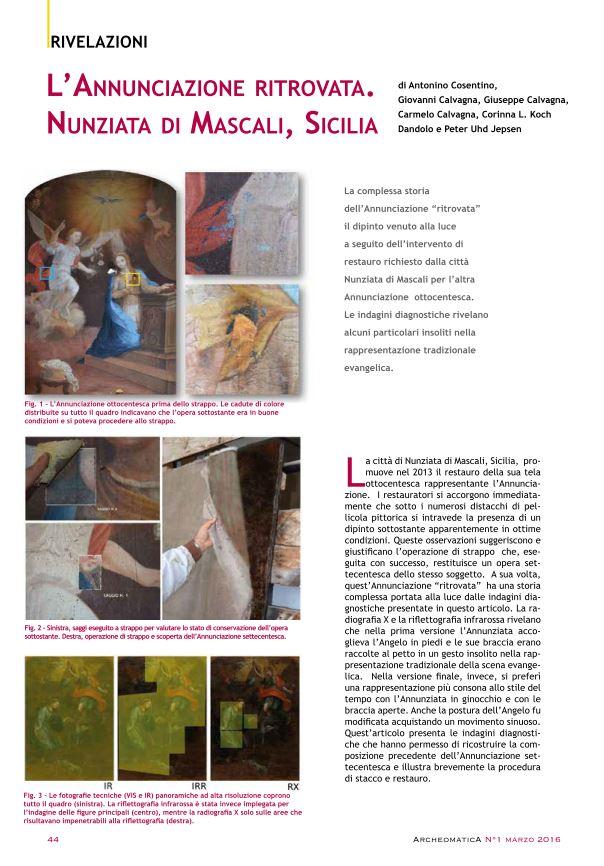 L'Annunciazione ritrovata. Nunziata di Mascali, Sicilia