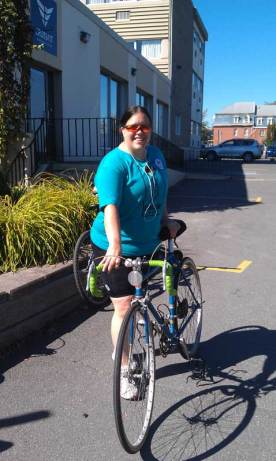 Posing with my bike before putting on my helmet