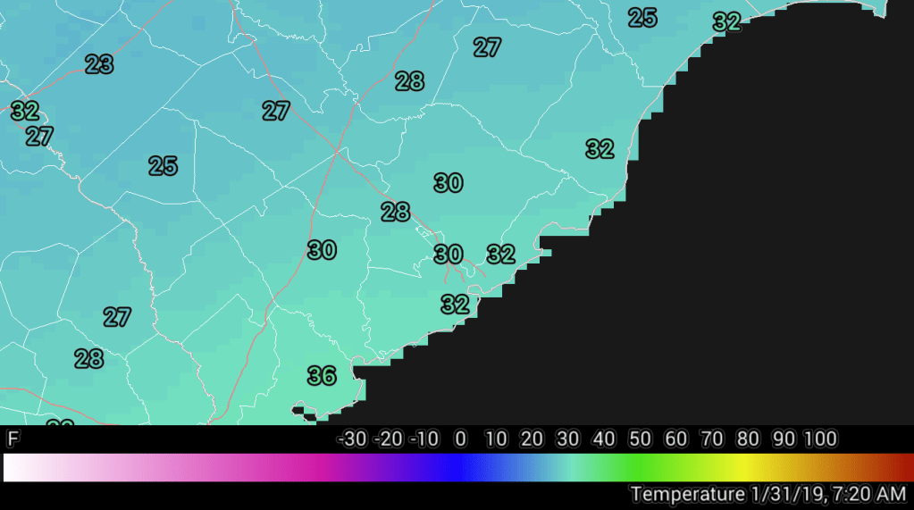 Area temperatures as of 7:20 AM Thursday, January 31, 2019. Charleston: 30, Moncks Corner: 30, Summerville: 28, Johns Island: 32, Mt. Pleasant: 32