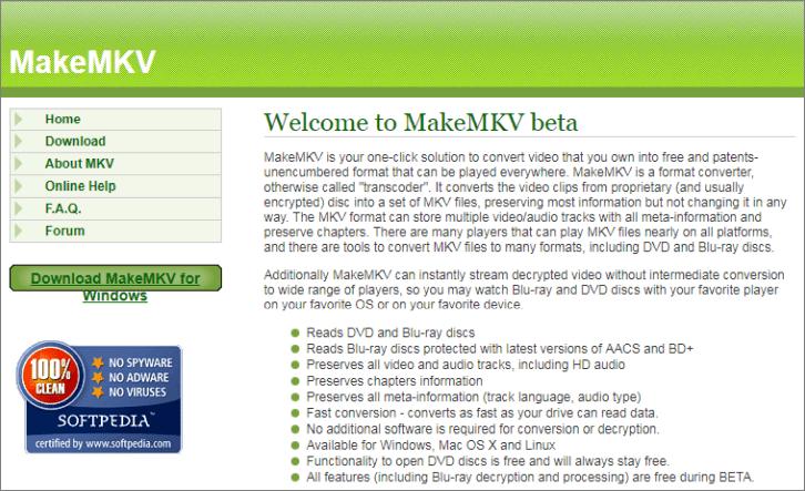MakeMKV 官網
