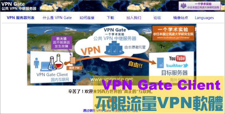 VPN Gate Client - 官網首頁