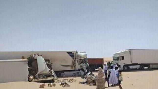 حادث اصطدام مروع بين شاحنات تجارية وسط موريتانيا يؤدي إلى سقوط جرحى مغاربة!
