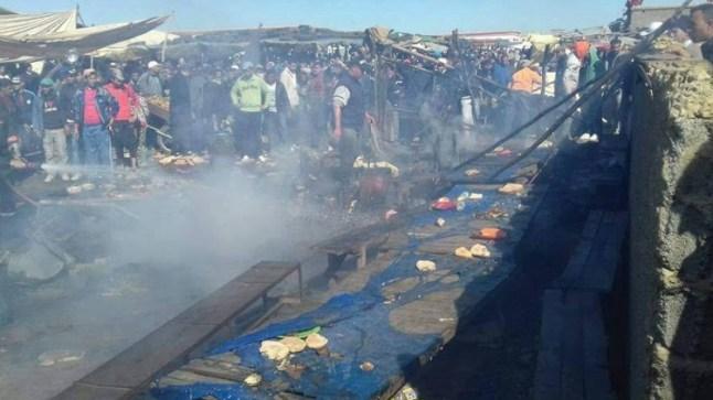 حريق مهول بقرية للصيد بالداخلة يخلف خسائر بشرية ومادية!