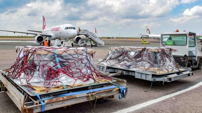 حوالي 89 طنا و99 كلغ حجم المساعدات الطبية إلى تونس