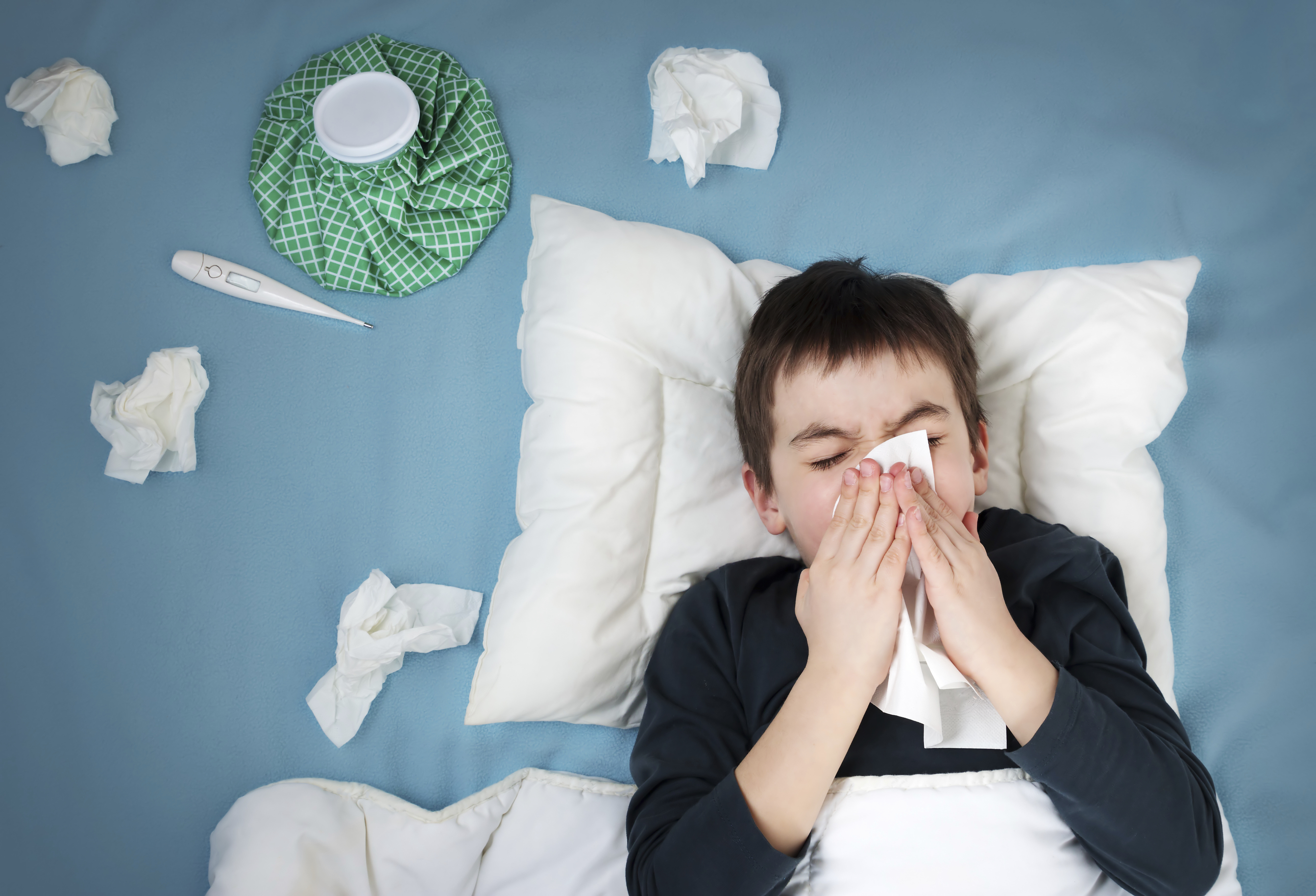 The nuisance also known as the common cold and how to avoid it ill boy lying in bed altavistaventures Images