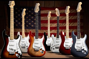 A bevy of american standard fender stratocaster guitars. They're expensive, but exceptionally good