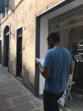 Walking the streets of Florence Italy, with map in hand.