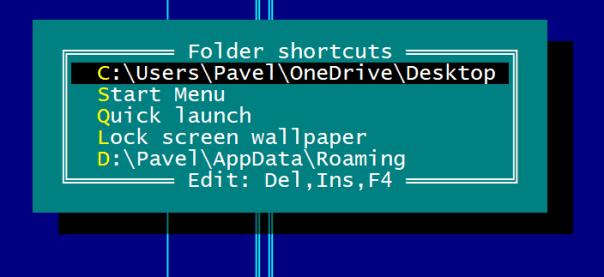 Folder shortcuts menu in Far Manager