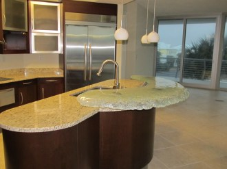 Kitchen Island with Glass Top Bar