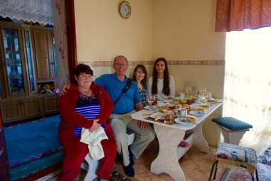 Lunch with Valentina, Pasha, and Tatiana in the village of Vasieni, Moldova.