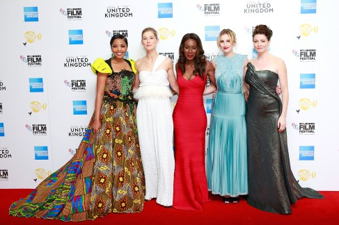 LONDON, ENGLAND - OCTOBER 05: (L-R) Terry Pheto, Rosamund Pike, Amma Asante, Laura Carmichael and Jessica Oyelowo attend the 'A United Kingdom' Opening Night Gala screening during the 60th BFI London Film Festival at Odeon Leicester Square on October 5, 2016 in London, England. (Photo by John Phillips/Getty Images) *** Local Caption *** Terry Pheto; Rosamund Pike; Amma Asante; Laura Carmichael; Jessica Oyelowo