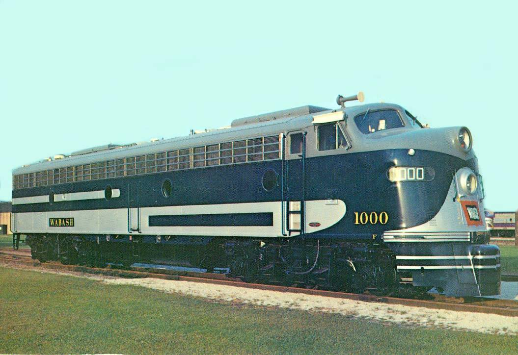 POSTCARD CHICAGO TRAIN WABASH RAILWAY DIESEL