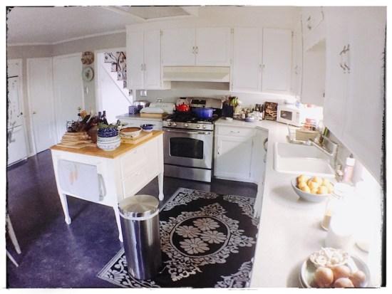 minha cozinha na manhã do Thanksgiving