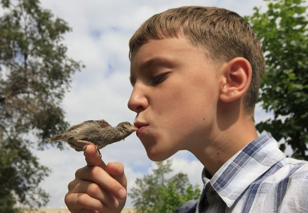 Veligurov kisses Abi, a wild sparrow, during a walk near his grandmother's house in the town of Minusinsk